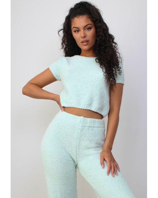 Missguided Green Co Ord Cosy Knit T Shirt