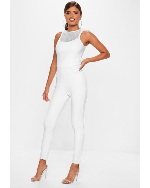974005aab71b Missguided White Fishnet Top Jumpsuit in White - Lyst