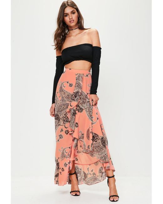 Missguided - Pink Paisley Print Chiffon Maxi Skirt - Lyst