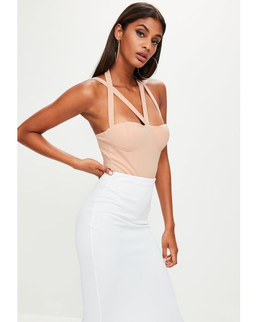Missguided | Natural Nude Harness Strap Bodysuit | Lyst