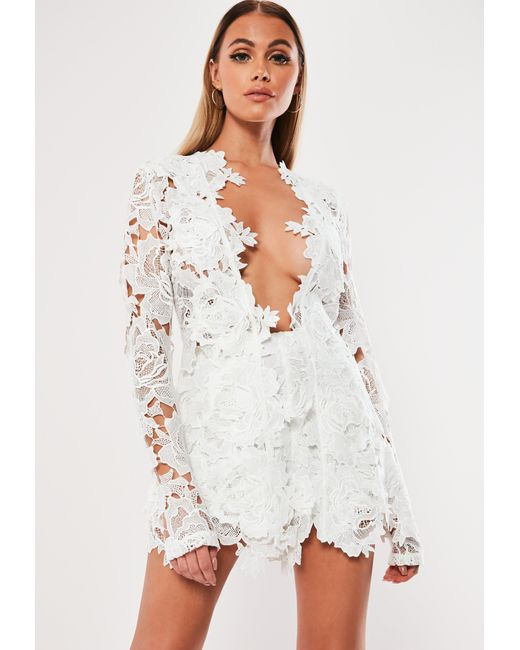 Missguided White Co Ord Crochet Lace Scalloped Shorts