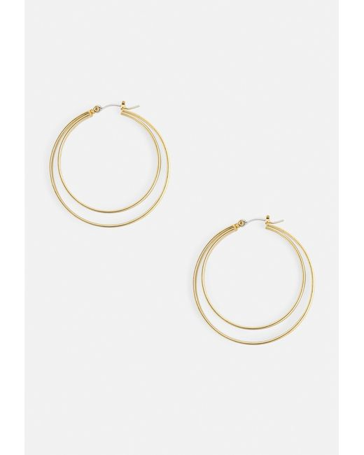 Missguided - Metallic Gold Double Hoop Earring - Lyst