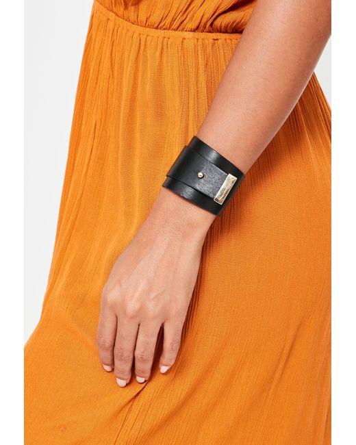 Missguided | Black Faux Leather Wrap Bracelet | Lyst