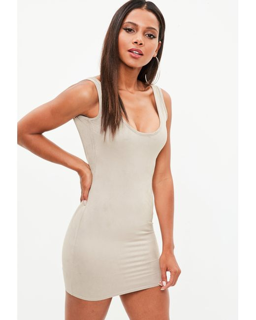 Missguided Nude Faux Suede Square Neck Bodycon Dress in