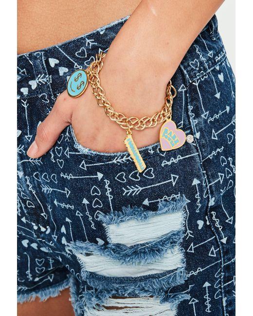Missguided | Metallic Gold Babe Power Charm Bracelet | Lyst
