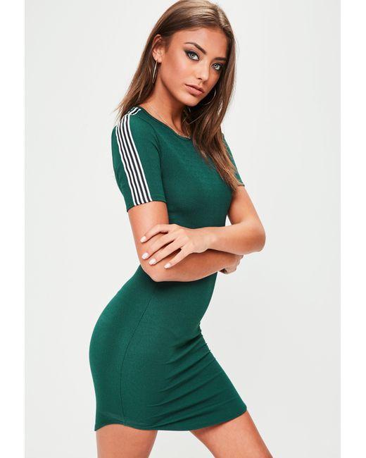 Missguided | Green Curved Hem Striped Sleeve Mini Dress | Lyst