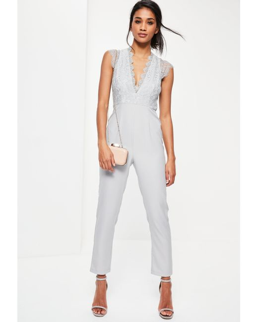 Missguided   Gray Grey Lace Sleeveless Plunge Jumpsuit   Lyst