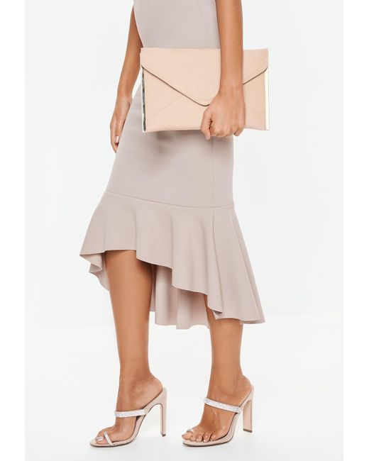 Missguided - Natural Nude Suedette Metal Trim Envelope Clutch - Lyst