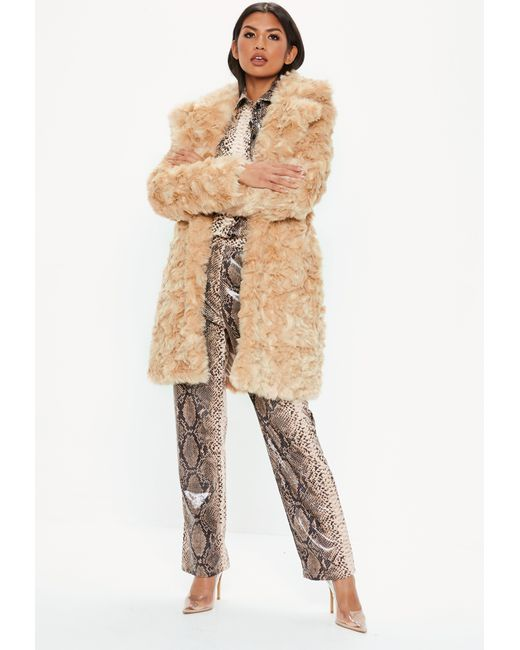 8f302a40a9c60 ... Missguided - Natural Cream Premium Faux Fur Tie Waist Wrap Coat - Lyst  ...