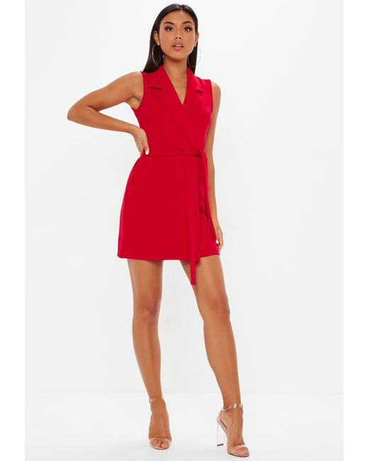 3ceb1b3affb ... Missguided - Red Sleeveless Stretch Crepe Blazer Dress - Lyst ...