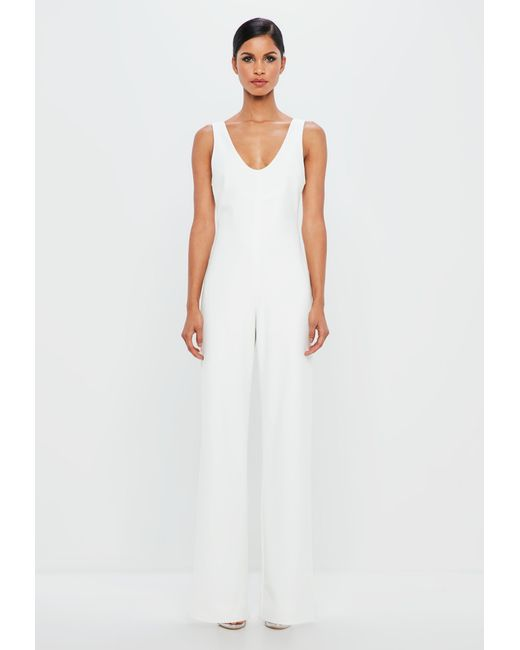 49d013a357c7 Lyst - Missguided Peace + Love White Scoop Back Wide Leg Jumpsuit in ...
