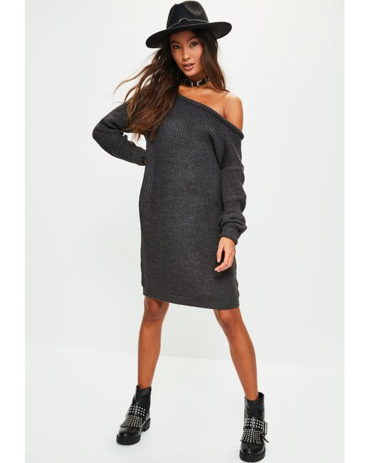 Missguided - Gray Dark Grey Off Shoulder Knitted Jumper Dress - Lyst