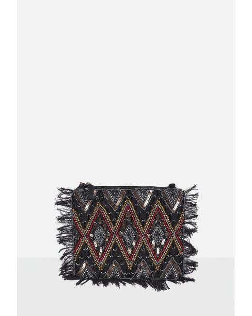 Missguided - Black Sequin Beaded Fringe Clutch Bag - Lyst