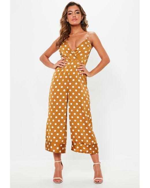 cd53fc098a ... Missguided - Orange Mustard Polka Dot Cami Culotte Jumpsuit - Lyst ...