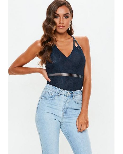 Missguided Navy Harness Cut Out Lace Bodysuit in Blue - Lyst c12ccf905