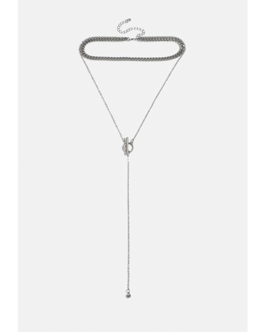 Missguided - Metallic Silver Look T Bar Chain Multirow Necklace - Lyst