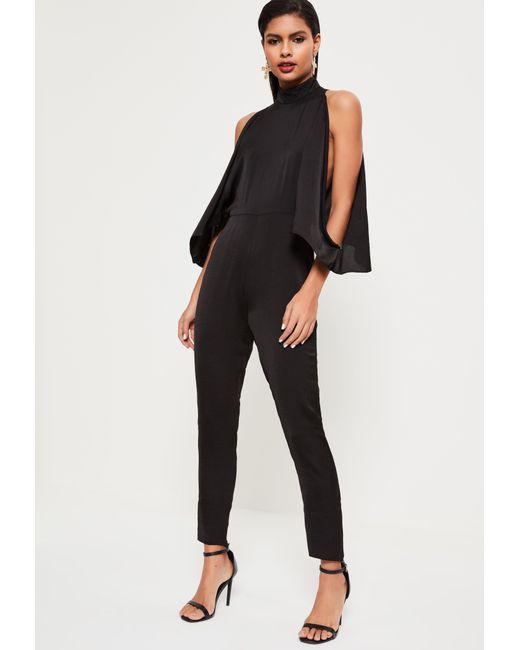 Missguided - Black Open Shoulder High Neck Satin Jumpsuit - Lyst