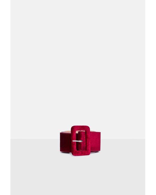 Missguided - Red Burgundy Velvet Buckle Belt - Lyst