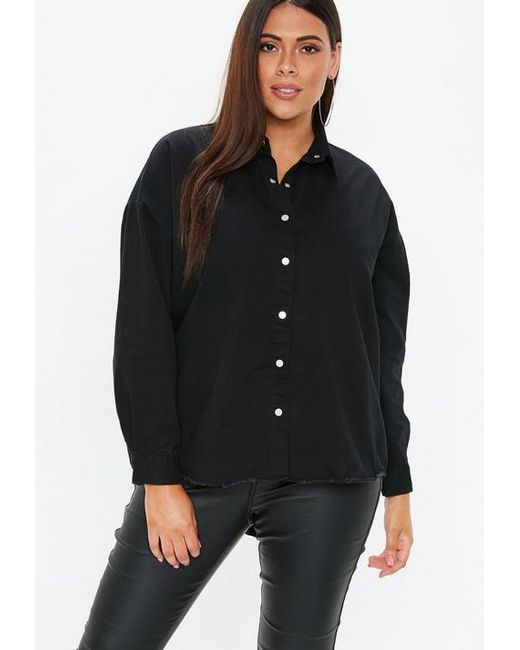 f024fed7a35 Missguided Plus Size Black Oversized Denim Shirt in Black - Lyst