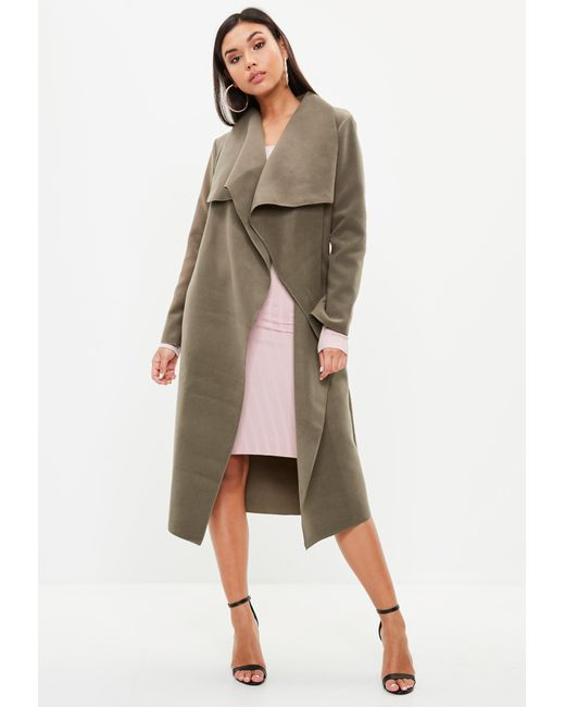 b4adddf6965f2 Missguided - Natural Khaki Oversized Waterfall Duster Coat - Lyst ...
