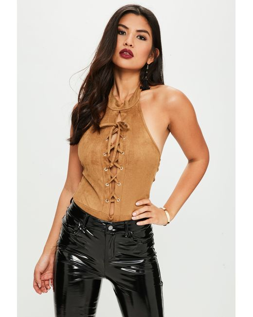 Missguided | Brown Lace Up Suede Bodysuit | Lyst