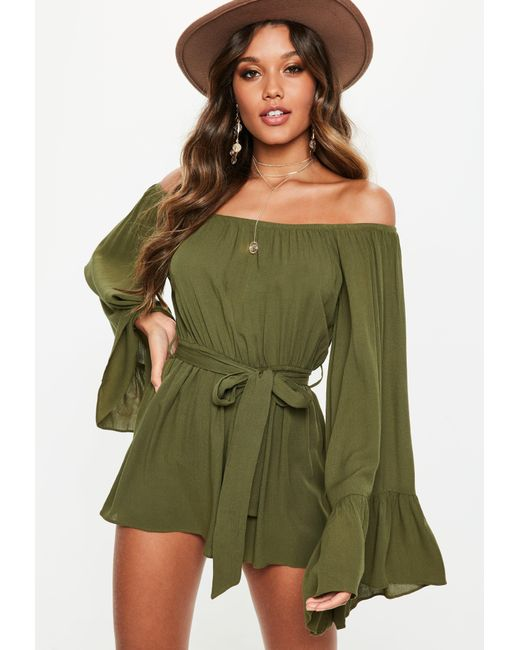 fbfec804828 ... Missguided - Green Khaki Flare Sleeve Bardot Playsuit - Lyst ...