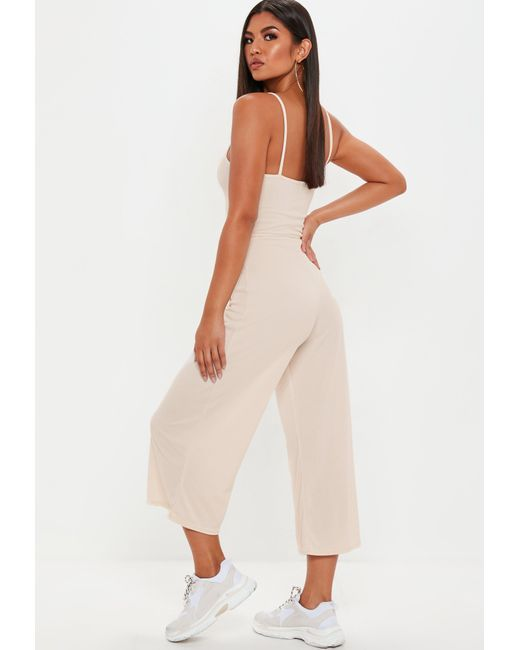 efb5fb0cd623 Lyst - Missguided Nude Ribbed Culotte Jumpsuit in Natural - Save 14%