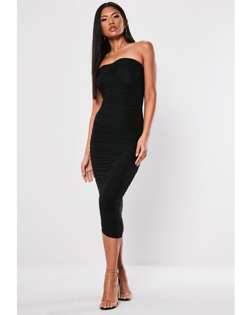 0792cf3c4f Lyst - Missguided Black Extreme Ruched Bandeau Midi Dress in Black