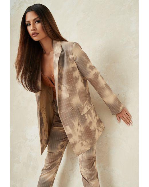 Missguided Brown Co Ord Tie Dye Pinstripe Longline Tailored Blazer
