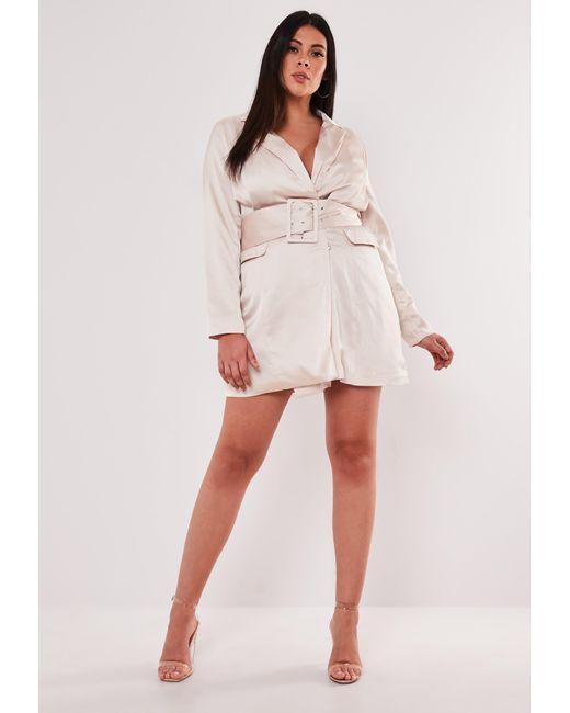 Plus Size Pink Satin Belted Blazer Dress