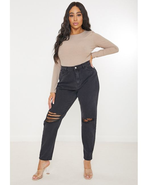 Missguided Size Black Busted Knee Mom Jeans
