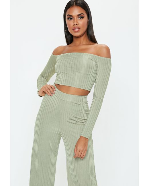 8c426552b501f0 Lyst - Missguided Green Shiny Ribbed Bardot Crop Top in Green