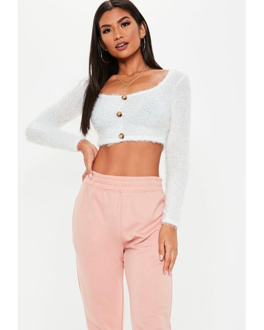 2e4c2b7535dc8 Missguided White Fluffy Horn Button Long Sleeve Crop Top in White - Lyst
