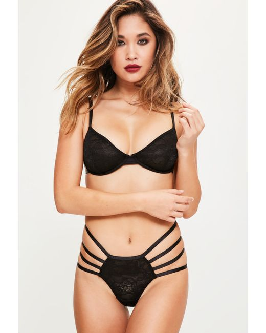 Missguided - Black Lace Cage Detail Underwired Bra - Lyst