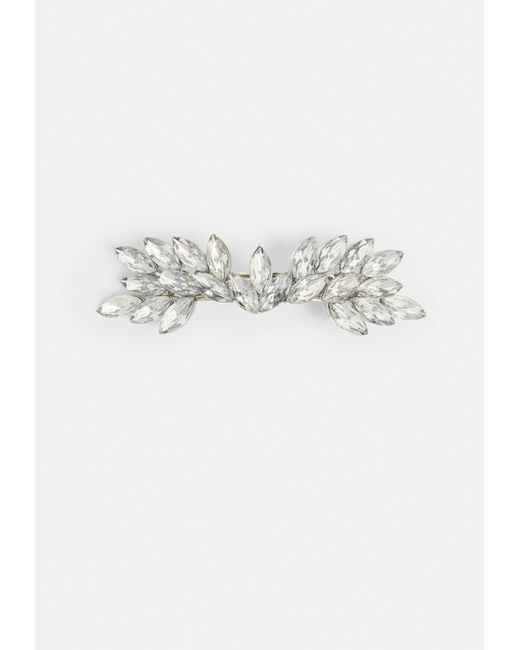 Missguided - Metallic Silver Diamante Hair Barette - Lyst