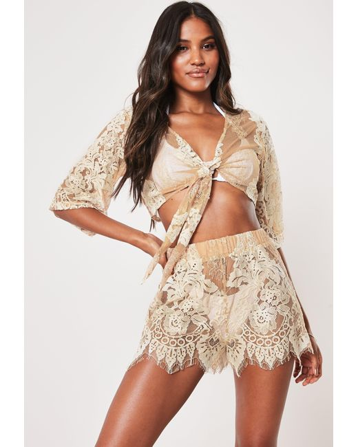 Missguided Natural Premium Nude Co Ord Lace Scallop Hem Beach Shorts