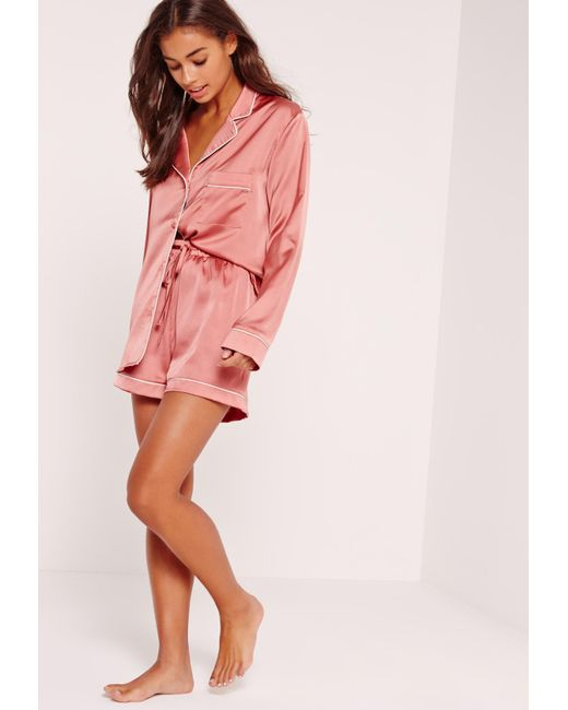 6471e3bed718 Lyst - Missguided Pink Piping Detail Short Pyjama Set in Pink - Save 10%