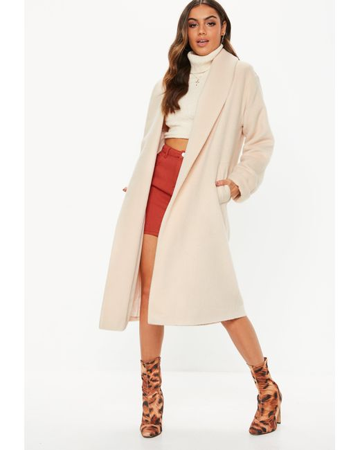 7e6b941289d89 Missguided - Natural Cream Brushed Shawl Collar Midi Coat - Lyst ...