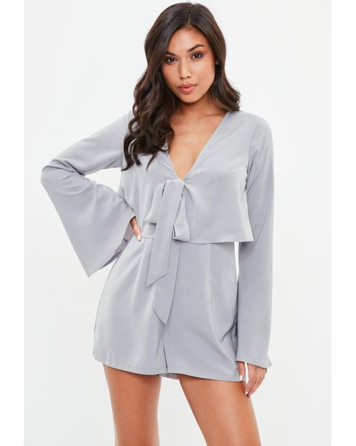 Missguided - Gray Overlay Tie Front Flare Romper - Lyst