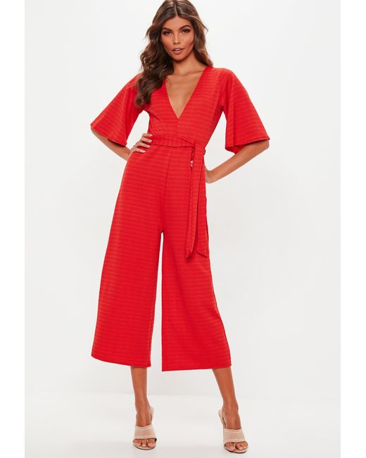 06be7e110cc5 Lyst - Missguided Red Stripe Plunge Kimono Culotte Jumpsuit in Red
