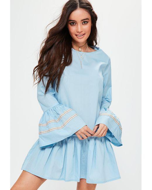 Missguided   Blue Ruffle Hem Oversized Trim Cuff Dress   Lyst