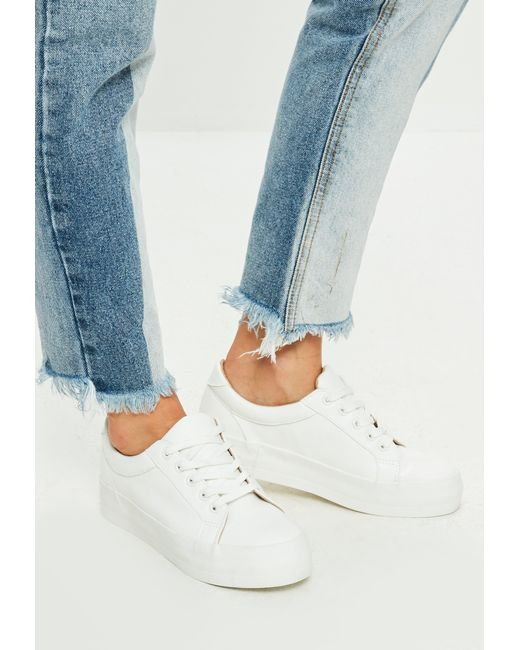 Missguided - White Faux Leather Flatform Sneakers - Lyst