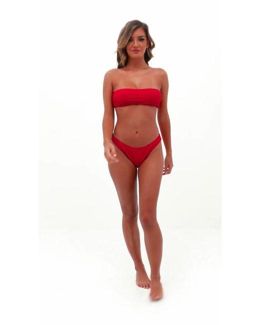 028ccad98b0b8 Missguided Red Rib Bandeau Bikini Top in Red - Lyst