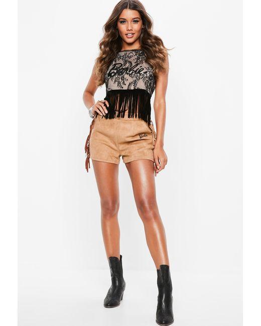 733e1b876eff6 ... Missguided - Barbie X Black Lace Tassel Trim Halterneck Top - Lyst ...