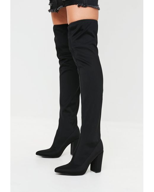 Missguided - Black Pointed Neoprene Over The Knee Boots - Lyst