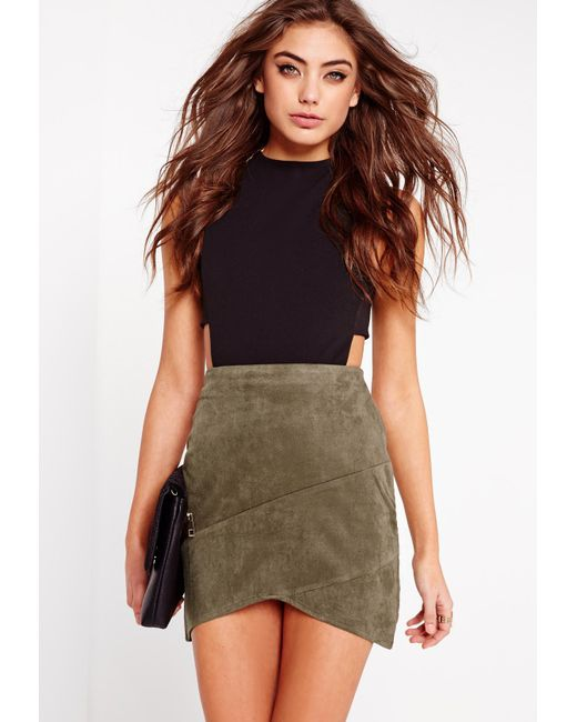 Missguided - Natural Faux Suede Wrap Mini Skirt Khaki - Lyst
