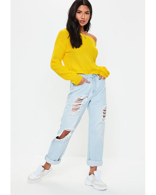 7f6306325a Lyst - Missguided Yellow Crop Off Shoulder Knitted Jumper in Yellow