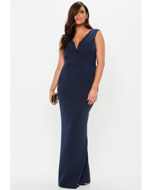 548fd384993 Missguided - Blue Plus Size Navy V Plunge Maxi Dress - Lyst ...
