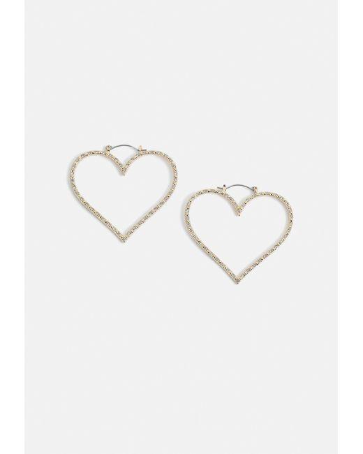 Missguided - Metallic Gold Look Diamante Heart Earrings - Lyst