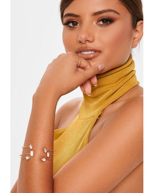 Missguided - Metallic Gold Look 3 Pack Fine Diamante Bangles - Lyst